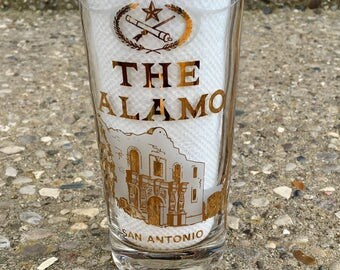 Vintage Alamo Gold Drinking Glass