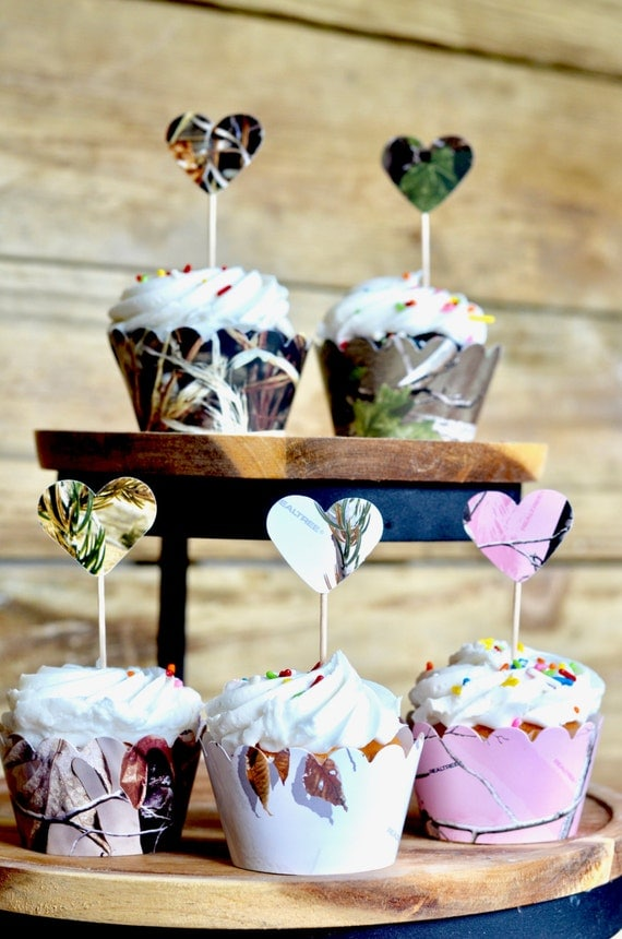 Camo Heart Cupcake Toppers - XtraGreen™, Snow Camo™, RealTree™, RealTree Pink™, and Max 4™