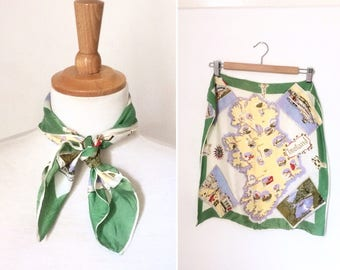 Vintage 1960s silk Ireland souvenir postcard print scarf / green neckerchief printed square novelty holiday scarf