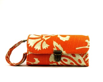 Smartphone wallet clutch - medium/ orange floral bright wallet, wristlet credit card wallet, money organizer gadget case - READY TO SHIP