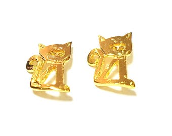 Gold Charms Gold Plated Cat Charms 24K Gold Plated Brass (19x14mm)  G7389