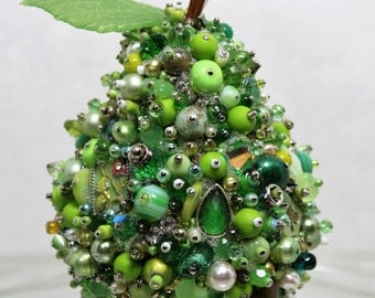 Jeweled Pear Art sculpture vintage jewelry Table decor