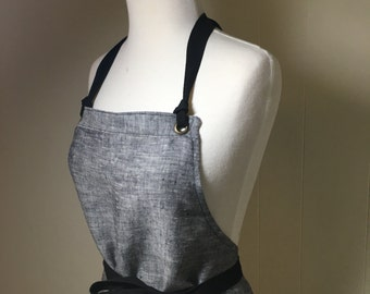 Linen Apron Woman Full Length Black White Chambray