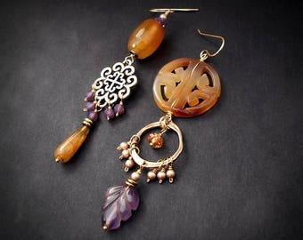 Tribal Echo Carved Gemstone Earrings Carnelian Earrings Amethyst Earrings Long Rustic Tribal Statement Earrings Burnt Orange Purple Earrings
