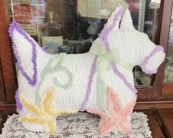 Vintage chenille bedspread Westie Scottie Dog pillow toy Flowers