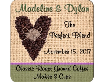 Custom Wedding Labels The Perfect Blend With a Coffee Themed Heart Square Glossy Designer Stickers - Quantity 100