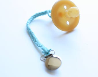 Braided Pacifier or Toy Clip // Baby Blue