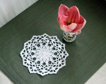 Small Cottage Chic Lace Crochet Doily, White Table Accessory, New Home Decor