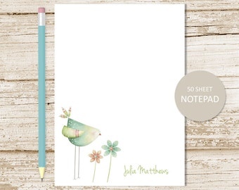 personalized notepad . bird, flowers note pad . watercolor personalized stationery . spring time, floral notepad