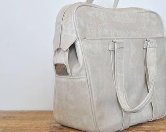 Vintage Samsonite Silhouette White Carry On Bag Marbled Cream Off White Overnight Tote Vegan Vinyl