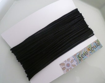 Moroccan Soutache or cord, FINE, 2mm, black art silk 10 metres