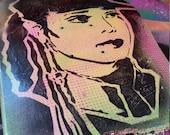 Janet Jackson Rhythm Nation upcycled broken skate deck painting street art spray paint original stencil