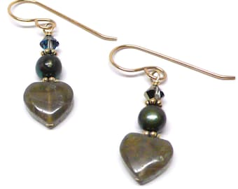Labradorite 10mm heart earrings sterling silver gold-filled Austrian Swarovski crystal pierced or clip-on freshwater pearl