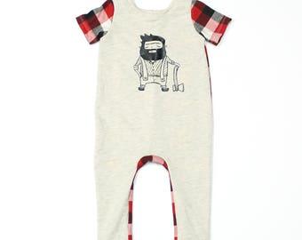 Baby Romper - Baby Boy Romper - Baby Coverall Jumper - Red Plaid Lumberjack