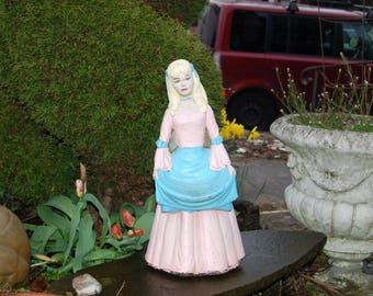 """Vintage 22"""" English """"Cinderella"""", German """"Aschenputtel"""" with her Original Paint old style Concrete / Cement Garden Statue / Sculpture"""