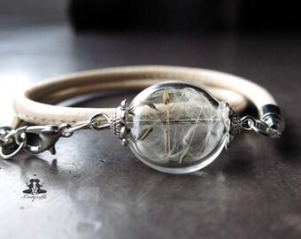 Bracelet - dandelion on a leather strap - cream