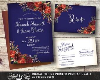 navy floral wedding invitation set rustic fall wedding invitation printed invite printable digital file - Rustic Fall Wedding Invitations