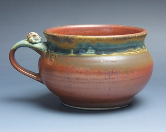 Sale - Handmade stoneware soup or chili mug iron red and blue green 22 plus oz 3807