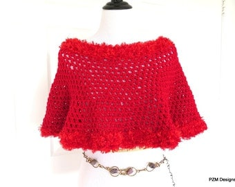 Red Hand Crochet Poncho, Red Circle Fishnet Poncho, gift for her