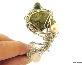 Woven Gemstone Cuff Bracelet, Unakite and Pearl Free Form Cuff, Gift for Her
