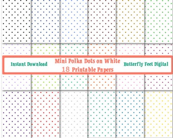 White Digital Paper, Mini Polka Dots on White Background, 18 Printable Papers, Scrapbooking, Card Making, Instant Download
