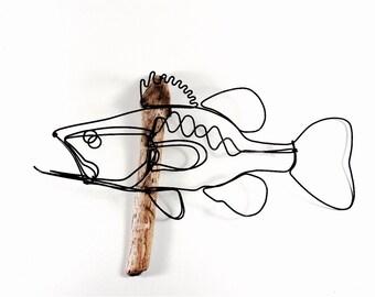 Bass Wall Art, Bass Wire Sculpture, Fish Art, Fish Wallhanging, Fish Wire Art, 474153292