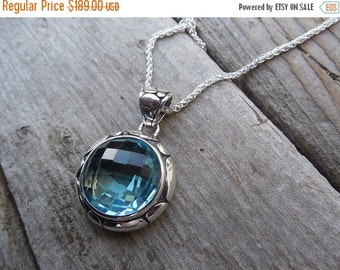 ON SALE Sky blue topaz necklace handmade in sterling silver
