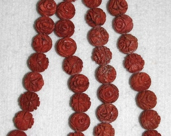 Coral, Sponge Coral, 14 mm, Carved Coral, Carved Flower, Carved Coral Flower, Natural Coral, Sponge Coral Bead, Full Strand, AdrianasBeads