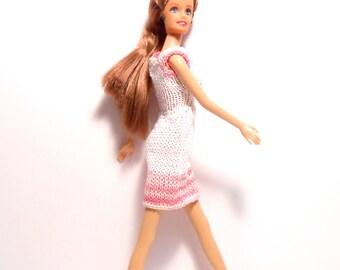 Pink And White Dress, Fashion Doll Dress, Crocheted Doll Dress, Doll Dress