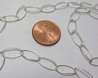 """Long Sterling Silver Chain Necklace, 28"""", Sterling Chain, Oval Link Chain, Sterling Silver Chain Necklace, Sterling Twist Chain, 12mm, 925"""