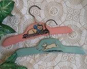 2 Wooden Child's Hangers Pink Aqua Cat Dog Vintage at Quilted Nest