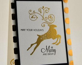Elegant Dots Reindeer Christmas Card