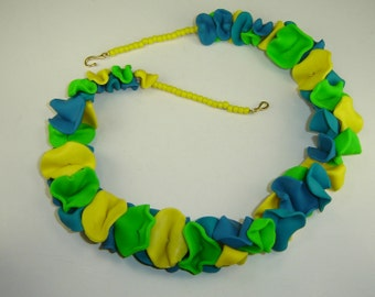 Sunshine Bright Colors Flower Petal Necklace in Yellow Blue and Green