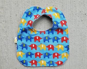 The Bib. Elephants on Herringbone Minky. Handmade Baby Gift.