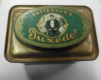 Tuxedo tobacco tin, vintage tobacco tin, old tobacco tin, large tobacco tin, large Tuxedo tobacco tin