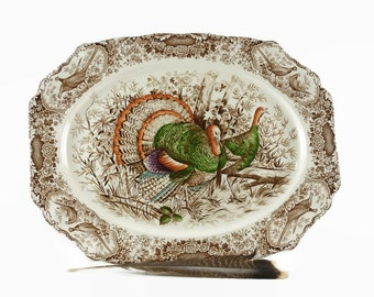 Vintage Turkey Platter, Johnson Bros Ironstone Turkey Platter, Transferware Turkey Plate, Thanksgiving Table