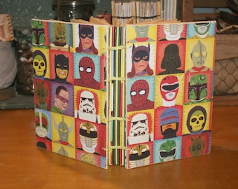 Super Hero and Villain Journal, Handmade Coptic Bound Book, Comic Book, Geekery, Dad Gift, Star Wars Fan, DC Comic Fans, Guest Book