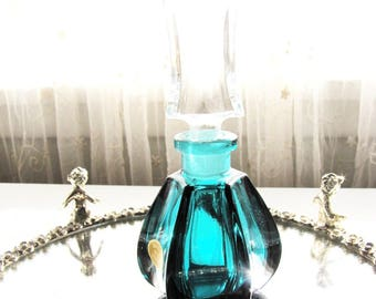 Vintage Perfume Bottle Crystal Turquoise West Germany from AllieEtCie