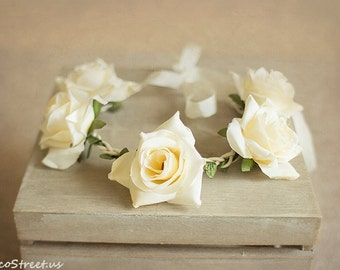 Baby Headband, Baby Crown, Ivory Cream Rose Flower Crown, Baby Crown, Baby Halo,, Eco Newborn Headband, Newborn Props, Natural Props