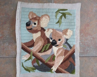 vintage finished stitchery koala bears unframed, 11 by 13 inches koala bear collectable