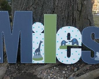Custom Boys Name Sign - Jungle Animal Themed Nursery Wall Letters Name Sign - Wood Wall Letters Boy Style Stripes
