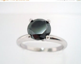 ON SALE Fancy Black Diamond Solitaire Engagement Ring 14K White Gold 1.04 Carat handmade