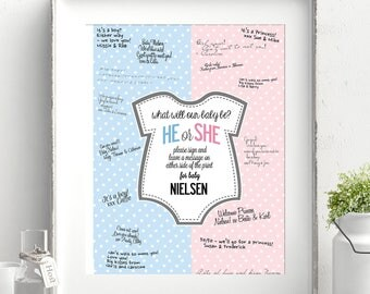Baby Gender Guessing Guest Book Personalized Print.  Poster print A3, 30x42 cm.