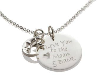 I Love You to the Moon and Back Necklace Pendant, Personalized Gift for Her Custom Jewelry, 925 Sterling Silver Jewelry