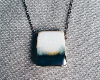 DARK WATER - A unique modern porcelain necklace inspired by images of the sea.  Handmade ceramic jewelry.