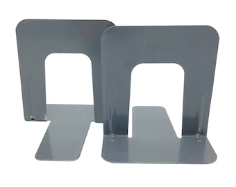 Vintage Metal Bookends, Gray/Grey, Library, Office, Industrial Decor, Bookend Set, Arch Shaped