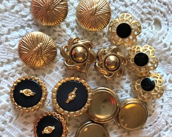 Gold Metal Buttons, Pairs of unusual Buttons, Metal Shanks in Different styles, 13 in lot, Decorative, ornate, Pairs, Button Jewelry
