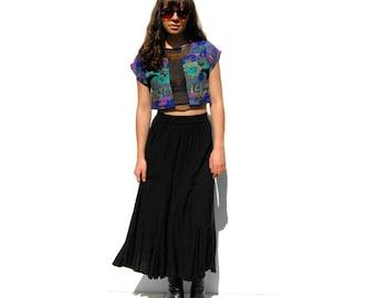 SALE!!!!!!!!!!! Black maxi swing skirt 1990s 90s VINTAGE
