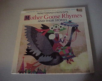 1969 Walt Disney's Mother Goose Rhymes and Their Stories Book and LP Vinyl Record