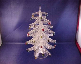 Crystal Pine Plastic Christmas Tree with Mercury Glass Bulbs Christmas Decoration